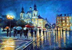 Prague Old Town Square view of street Parizska and St.Nicolas church by Yuriy Shevchuk
