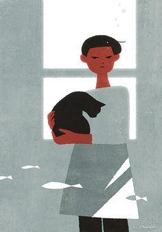 a contraluz, ilustración de Yoko Tanji