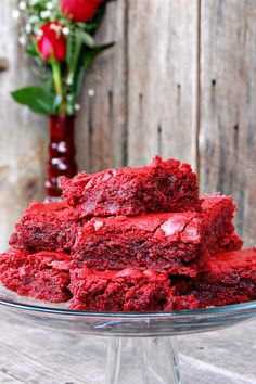 Red Velvet Brownies. Red Velvet Cake Mix + 1/2 C melted butter + 1/4 C brown sugar + 2 eggs + 375^ for :25-30