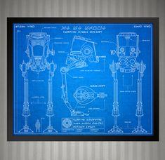 Star Wars Blueprint Style - AT-ST Scout Walker: 8 x 10 print by KnerdKraft on Etsy