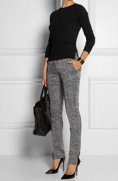 Business casual outfit idea: gray pants + black blouse