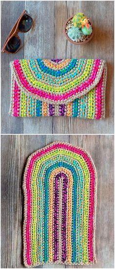 Unforgettable New Crochet Free Patterns - Diy Rustics Decent Multicolor Pouch Crochet Free Pattern L Boho Crochet Patterns, Crochet Designs, Crochet Stitches, Knitting Patterns, Crochet Cap, Diy Crochet, Crochet Crafts, Crochet Projects, Crochet Purses