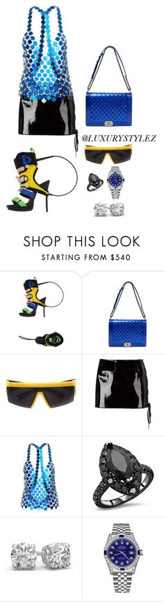 """""""LUXURYSTYLEZ SPRING FASHION, STREET WEAR"""" by luxurystylez ❤ liked on Polyvore featuring Dsquared2, Chanel, Mykita, Anthony Vaccarello and Rolex"""
