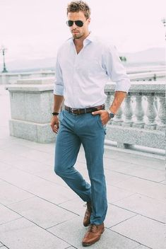 White Shirt With Teal Formal Trouser Combination For Business Casual Look