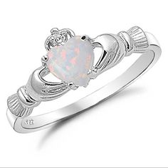 Sterling Silver Heart Shaped Lab Opal Claddagh Ring Size 9