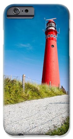 Red lighthouse and deep blue sky. iPhone Case by Jan Brons Lighthouse found on the island of Schiermonnikoog. The lighthouse, also known as North Tower, was activated in 1854. Schiermonnikoog belongs to the Unesco Wadden Sea Region. The Wadden Sea stretching from The Netherlands, Germany to Denmark. Fine Art America