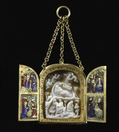 c. 1460-1500 basse-taille enamel on gold pendant triptych with a c. 1250-1300 onyx cameo of the Nativity. Cleveland Museum of Art 1947.508