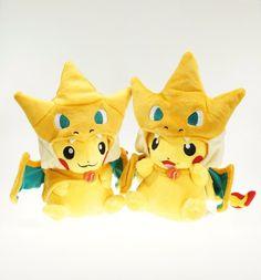 2015 New Cartoon Pikachu Cosplay Charmander Plush Toys Cute Plush Stuffed Animals Soft dolls Fashion Cartoon Plush Toys
