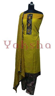 885a334184 top: yellow cotton material with kalamkaari patchwork bottom: kalamkaari  cotton material shawl: crushed chanderi cotton material with kalamkaari  patch ...