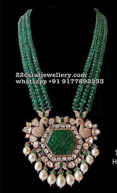 Three Layer Beads Set with Diamond Pendant - Jewellery Designs Emerald Jewelry, Pearl Jewelry, Pendant Jewelry, Beaded Jewelry, Diamond Jewellery, Diamond Necklaces, Diamond Rings, Silver Jewelry, Antique Jewellery
