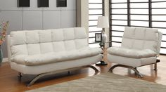 HOMES: Inside   Out ioHOMES Saint Bruno Padded Leatherette Convertible Chair White *** Check this awesome product by going to the link at the image. (This is an affiliate link) #Futon