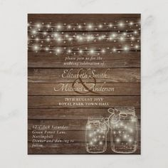 Budget Rustic Lights Mason Jars Cheapest Wedding - tap/click to personalize and buy #budget #wedding #leahg #invitations #low Budget Wedding Invitations, Rustic Invitations, Wedding Invitation Cards, Wedding Stationery, Stationery Paper, Invitation Wording, Shower Invitations, Wedding Planner, Low Budget Wedding