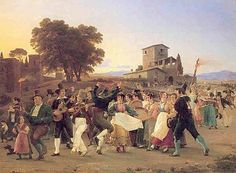 Marstrand: Lystighed uden for roms mure på en oktoberaften, 1839.