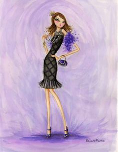 Evening Mom (c) Bella Pilar Shades Of Purple, Purple And Black, Fashion Art, Girl Fashion, Fashion Design, Fashion Styles, Fashion Sketches, Fashion Illustrations, Fashion Drawings