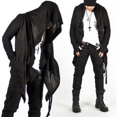 New-Mens-Fashion-Mod-Avant-garde-Dark-Punk-Hood-Charcoal-Cape-Cardigan-Jacket