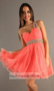 Dave and Johnny 6726 Short Coral One Shoulder Prom Dress