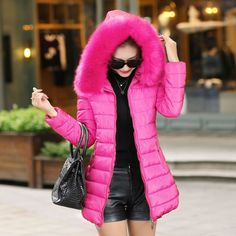 Women's Winter Thicken Warm Cotton Coat Slinm Fit Jacket Hooded Fur Collar Parka #Other #Fashion