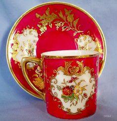 Νοritake gilded cup and saucer, c1910
