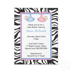Image detail for -Zebra Frame Twins Baby Boy & Girl Shower Invite invitation Twin Baby Boys, Twin Babies, Twins, Angel Baby Shower, Girl Shower, Baby Shower Announcement, Shower Invitations, Invite, Gemini