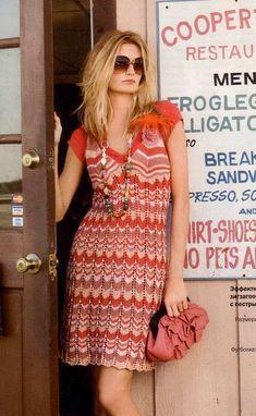 Вязаное платье спицами в стиле Миссони   Вязание для женщин