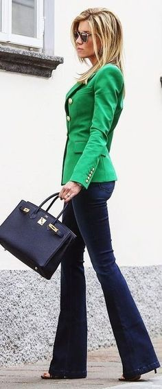 Green Blazer + Navy Flares love this combination