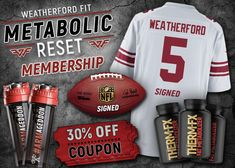 Win n really awesome Weatherford Fit gear such as a game used signed NFL football, A signed Jersey, THERM-Fx (All natural fat metabolizer by Veritas Labs), Signed Cyclone Cups and more! Click the following link to enter to win instantly!