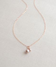 SUPER SALE SALE - Blush Pearls on Rose Gold Necklace - double pearl necklace - simple pearl jewelry - 1136