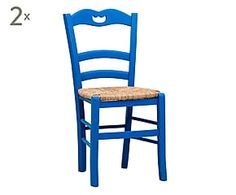 Set di 2 sedie in faggio con seduta in paglia blu - 45x88x45 cm