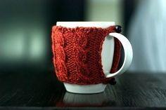 Cable stitch hand knit mug cozy *pattern* - by waysideviolet @ etsy ::