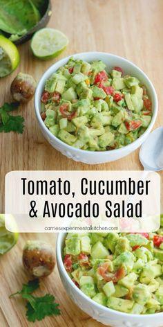 Tomato, Cucumber & Avocado Salad made with ripe avocado, garden fresh tomatoes and cucumbers. Tomato, Cucumber & Avocado Salad made with ripe avocado, garden fresh tomatoes and cucumbers. Cucumber Avocado Salad, Cucumber Recipes, Healthy Salad Recipes, Ripe Avocado, Cucumber Drink, Avocado Drink, Cucumber Cleanse, Cucumber Beetles, Healthy Soups