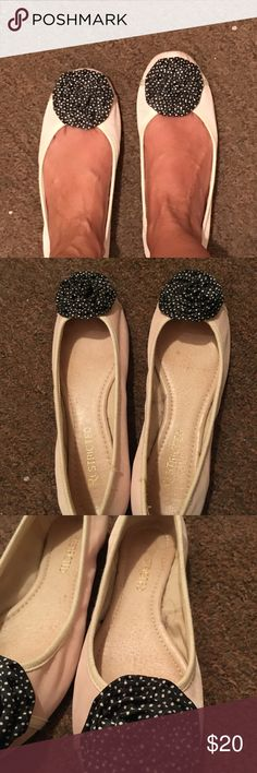 Pink and navy dot ballet flats Pale pink ballet flats with navy and white polka dot rosette. Excellent condition--just wear on sole. Worn a few times. Restricted Shoes Flats & Loafers