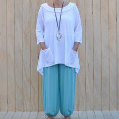 Ladies Lagenlook Alibaba Harem Pants - GREEN/TURQUOISE | Ladieslagenlook #harem…