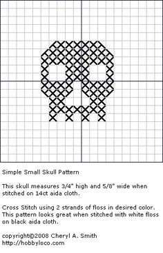 itty bitty skull white thread on black fabric