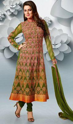 Mehendi Green Shade Georgette Churidar Dress