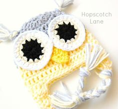 Crochet Owl Hat - Baby Owl Crochet Hat Gray and Yellow Photo Prop Newborn Baby  Beanie Crohet Owl Hat Size 0-3 month
