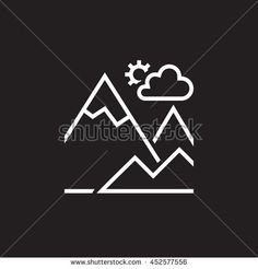 mountain line icon, outline terrain vector logo, linear pictogram isolated on black, pixel perfect illustration