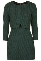 Geo Print Notch Overlay Dress. topshop.  green, mimics crop top trend without actually baring mid