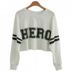 $6.91 European Street Style Letter Print Round Collar Long Sleeve Solid Color Cotton Blend Crop Top Sweatshirt For Women