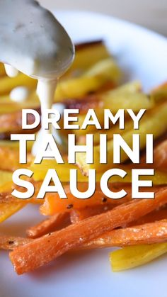 Use this lemony garlicky tahini sauce on anything try it as a salad dressing drizzled over vegetables and meats spread it onto bread or toast or simply serve as a dip. Whole Food Recipes, Dinner Recipes, Cooking Recipes, Sauce Tahini, Tahini Dip, Tzatziki Sauce, Vegetarian Recipes, Healthy Recipes, Vegan Recipes Videos