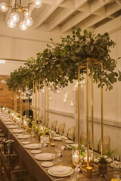 Gorgeous Ways To Incorporate Greenery Into Your Wedding Greenery Centerpiece, Tall Wedding Centerpieces, Gold Wedding Decorations, Wedding Designs, Wedding Styles, Surprise Wedding, Hanging Candles, Bridal Flowers, Floral Wedding