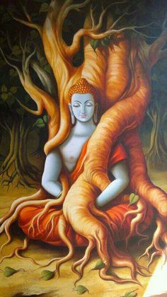 This picture represnets that Buddha is one with the tree, not physically but existentially. He himself has no perception of self taking place that separates him from the tree's existential identity. Lotus Buddha, Art Buddha, Buddha Painting, Lord Shiva Painting, Buddha Life, Buddha Decor, Shiva Art, Hindu Art, Krishna Art