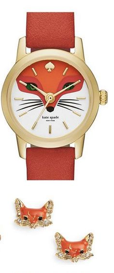 Darling kate spade fox watch and earrings