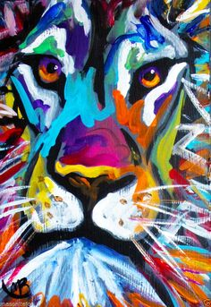 ABSTRACT ORIGINAL COLORFUL PAINTING 5X7 IN. LION FACE MARC BRoAdWAY