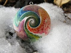 polymer clay swirl pendant- peacock by cmc designs, via Flickr