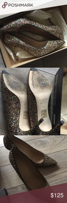 Glittering Elsie Glitter Pumps! Stunning pumps perfect for livening up any outfit. Worn once, all glitter in place, heels in perfect condition. Elegant, fun and sexy! Comes with box. J. Crew Shoes Heels