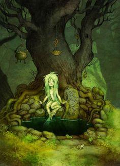 """Källrå"" by Johan Egerkrans. Spirits were said to watch in the water where…"