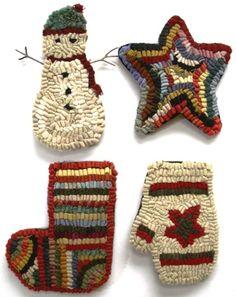 Primitive Christmas Ornament Rug Hookings