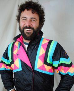 Awesome 80s Vintage Obermeyer Puffy Ski Neon Rainbow Jacket Coat. $45.00, via Etsy.