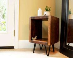 C Table Nightstand Side Bedside End Drawer Reclaimed Wood And Metal