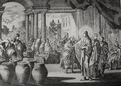 Phillip Medhurst presents John's Gospel: Bowyer Bible print 5297 Christ turns water into wine at Cana John 2:1-10 Jan Luyken on Flickr. A print from the Bowyer Bible, a grangerised copy of Macklin's Bible in Bolton Museum and Archives, England.